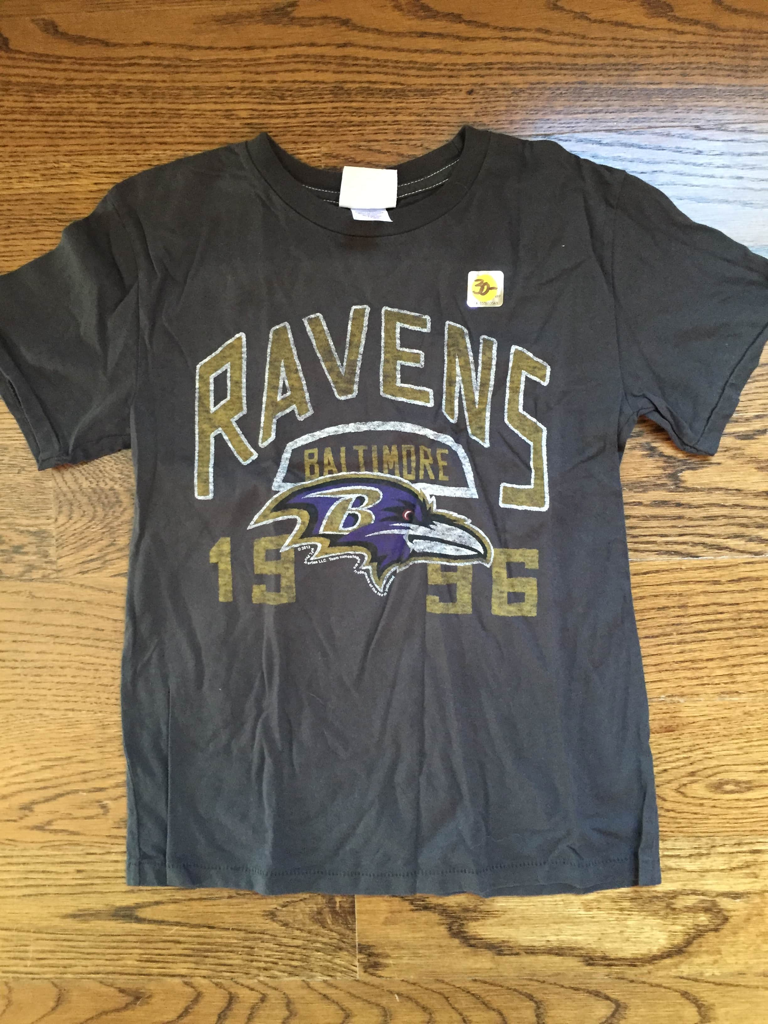 Ravens Black Junk Food 1996 Tee Yth Sm Philly Man Cave