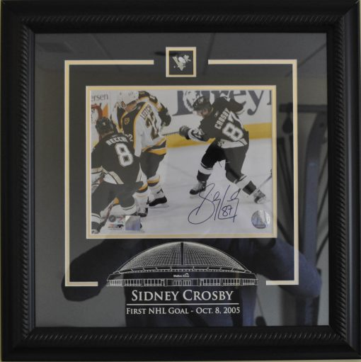 SIDNEY CROSBY SIGNED 1ST GOAL 8X10 FRAMED PHOTO