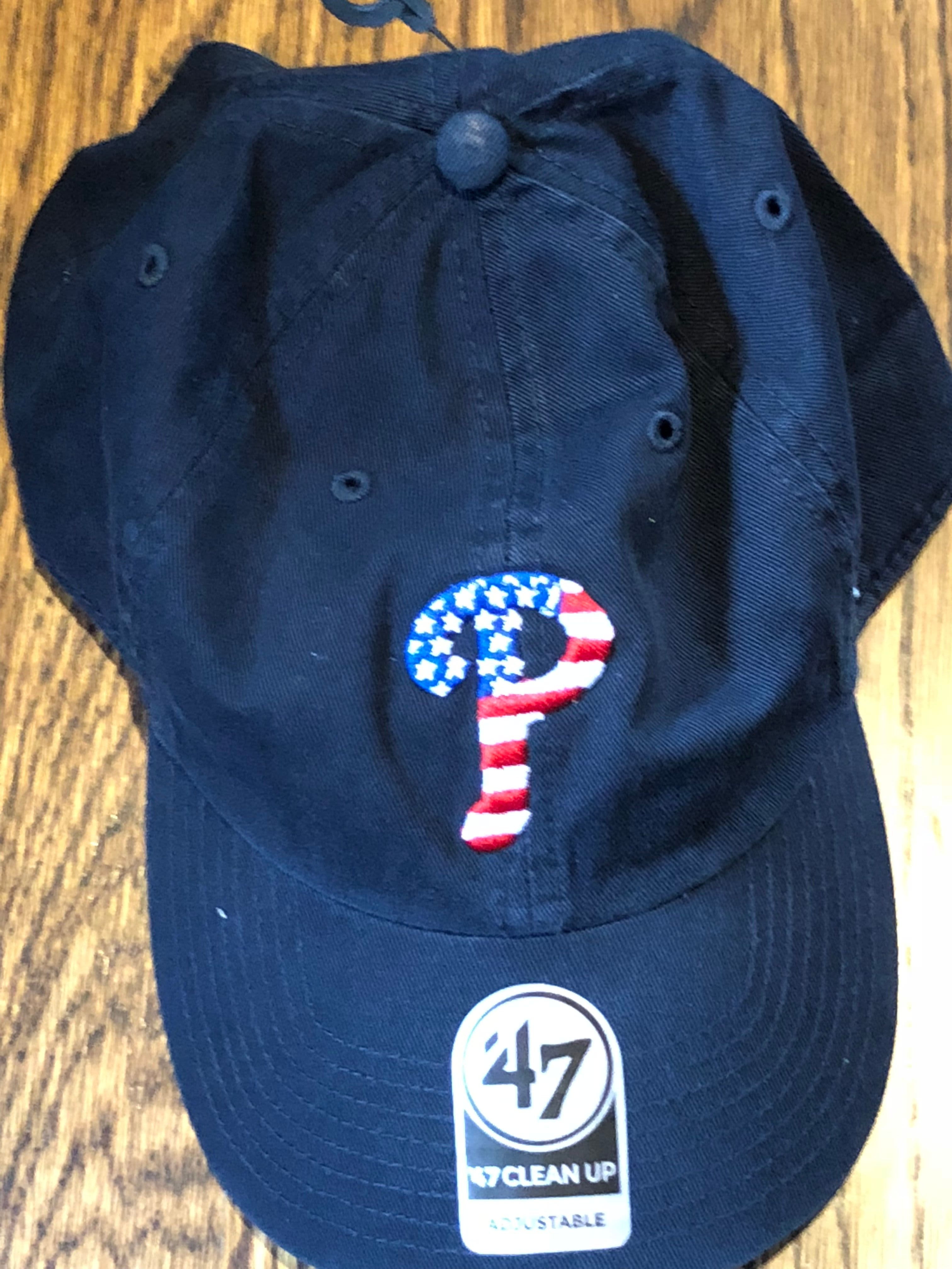 PHILADELPHIA PHILLIES 47 BRAND MENS NAVY SPANGLED BANNER USA CLEAN UP CAP