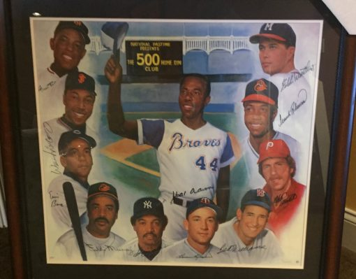 500 CLUB AUTOGRAPHED FRAMED POSTER